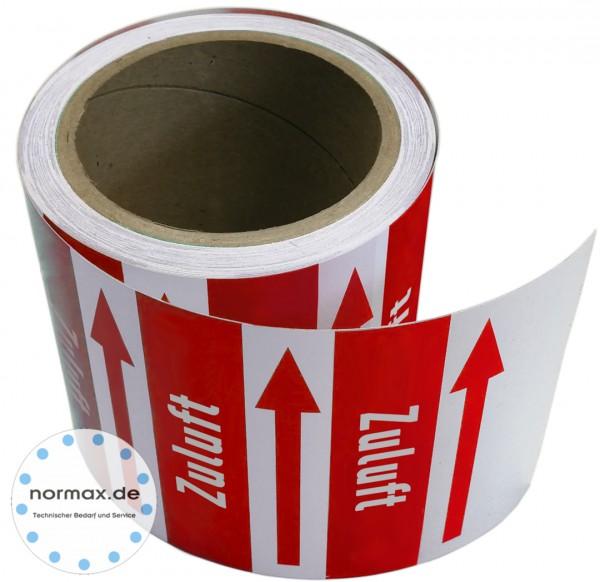 Rohrleitungsband Zuluft rot/weiss 100 mm x 10 m