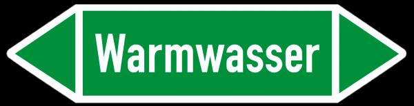 Fließrichtungspfeil Warmwasser grün/weiß