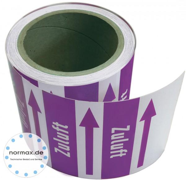 Rohrleitungsband Zuluft violett/weiss 100 mm x 10 m