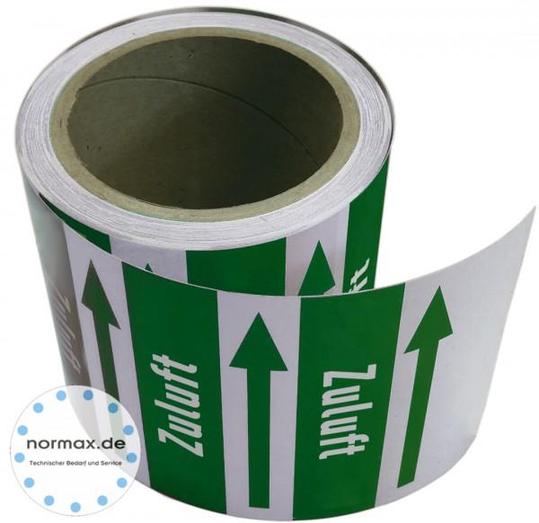 Rohrleitungsband Zuluft grün/weiss 100 mm x 10 m