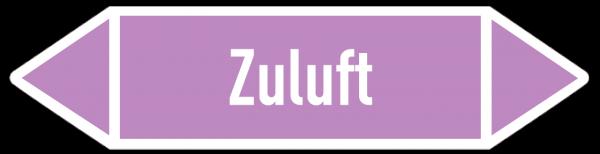 Fließrichtungspfeil Zuluft violett/weiß