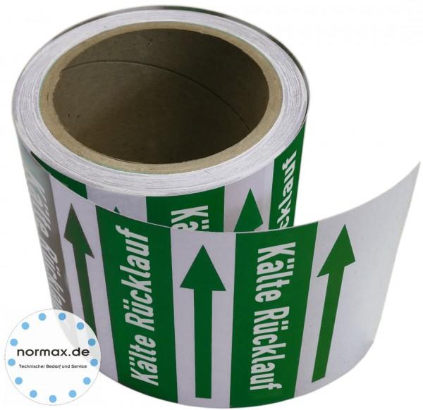 Rohrleitungsband Kälte Rücklauf grün/weiss 100 mm x 10 m