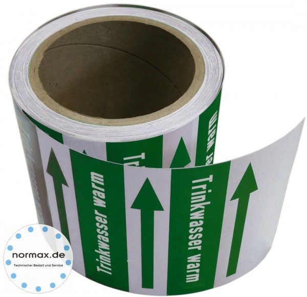Rohrleitungsband Trinkwasser warm grün/weiß