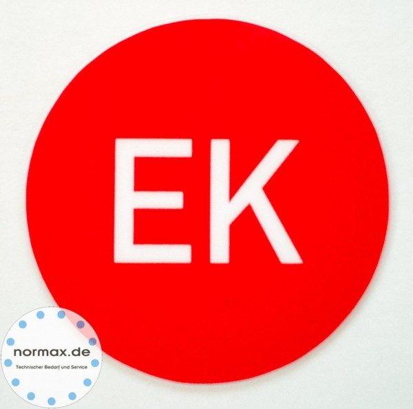 "Etikett ""EK"" rot/weiß"