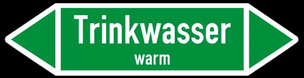 Fließrichtungspfeil Trinkwasser warm grün/weiß