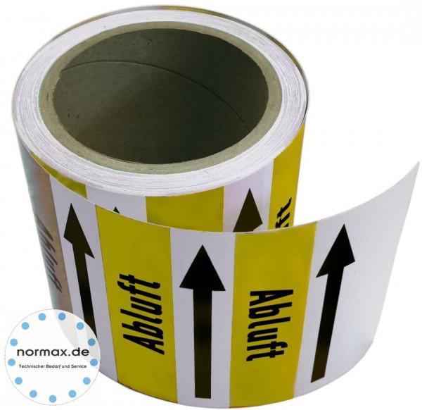 Rohrleitungsband Abluft gelb/weiß