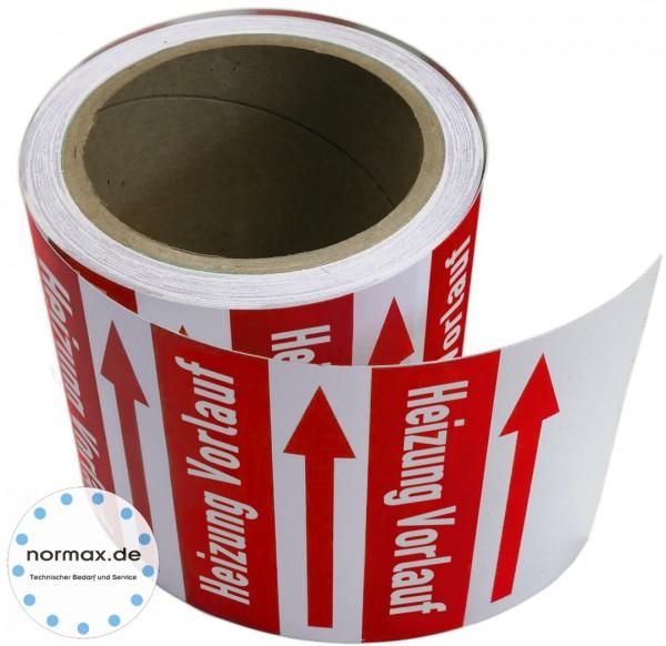 Rohrleitungsband Heizung Vorlauf rot/weiß