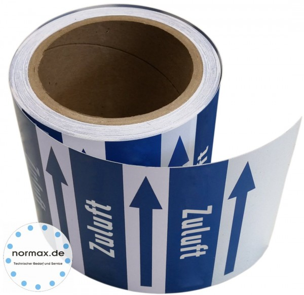 Rohrleitungsband Zuluft blau/weiß