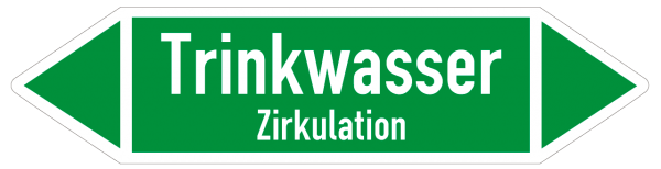 Fließrichtungspfeil Trinkwasser Zirkulation grün/weiß
