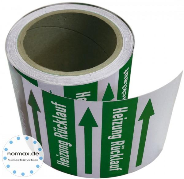 Rohrleitungsband Heizung Rücklauf grün/weiß
