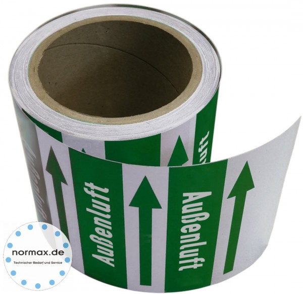 Rohrleitungsband Außenluft grün/weiß