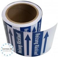 Rohrleitungsband Heizung Rücklauf blau/weiß